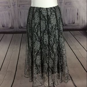 Coldwater Creek Black & White Lace Flare Skirt L